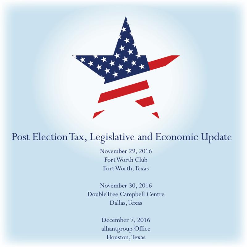 Post Election Tax, Legislative and Economic Update