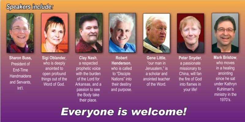 Speakers include Sharon Buss, Sigi Oblander, Clay Nash, Robert Henderson, Gene Little, Peter Snyder, Mark Bristow