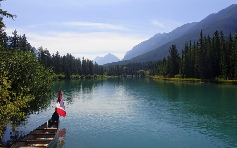 Rocky Mountain - view of the Bow river near Banff  Canada