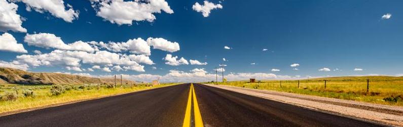 Empty open highway in Wyoming_ USA