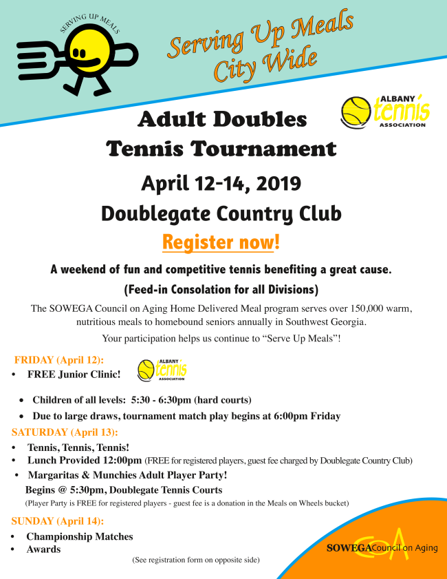Tennis tournament benefiting the home delivered meal program for the SOWEGA Council on Aging