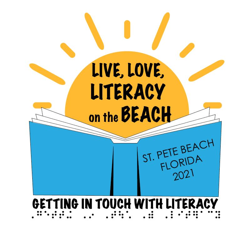 GITWL logo_ Open book with _St. Pete Beach Florida 2021_ on the cover and sun above_ with _Live_ Love_ Literacy on the Beach_ in the center