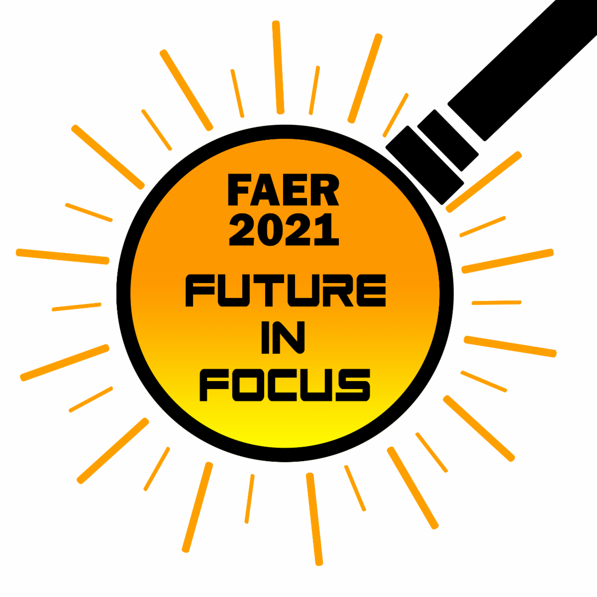 FAER 2021 Future in Focus logo a sunburst with a magnifier outline