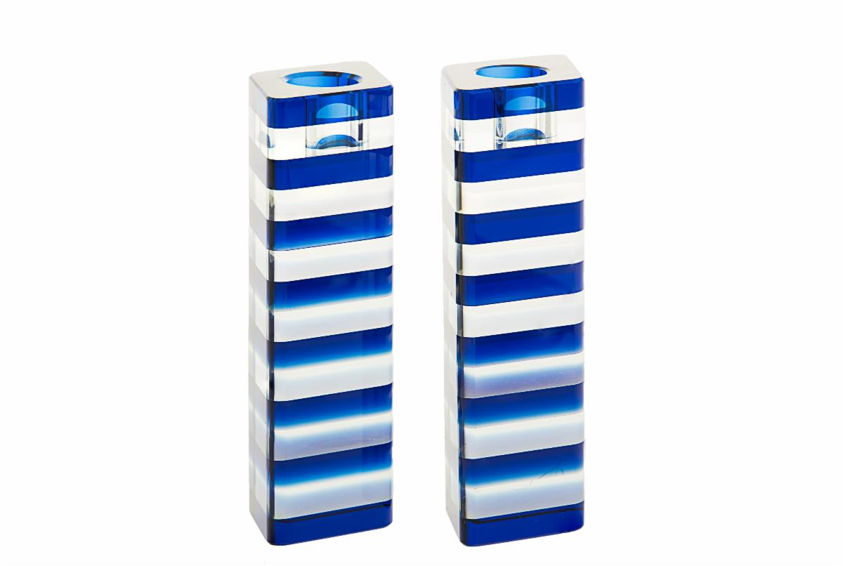 Blue Striped Candlesticks