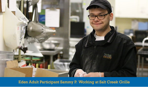 Eden Adult Participant working at Salt Creek Grille