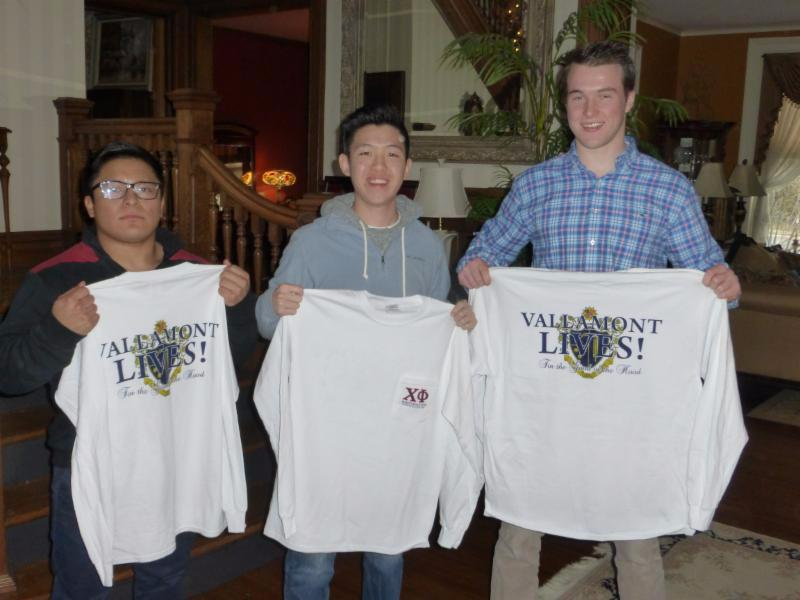 Brothers David Bezer ___18_ Dan Ma ___16_ and Liam Spillane _16 receive their shirts courtesy of Brother Michael _Weissy___ Weisberger __82.