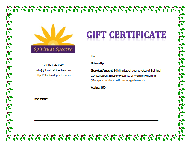 Gift Certificate - Winter Holiday Holly & Ivy