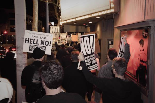 Anti-Trump rally marchers on Santa Monica Boulevard. (Photo by Jon Gamel, jongamelart.com)
