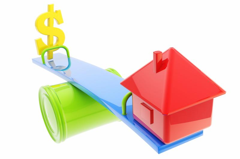 Mortgage and leverage conception icon-like house and usa dollar sign on the different sides of the seesaw isolated on white