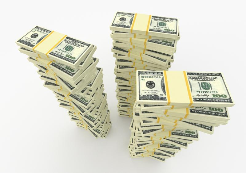 Three big money stacks from dollars usa. Finance concepts