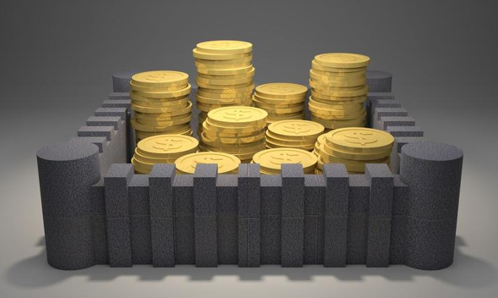 3d render illustration of heaps of gold coins protected inside a fortress.