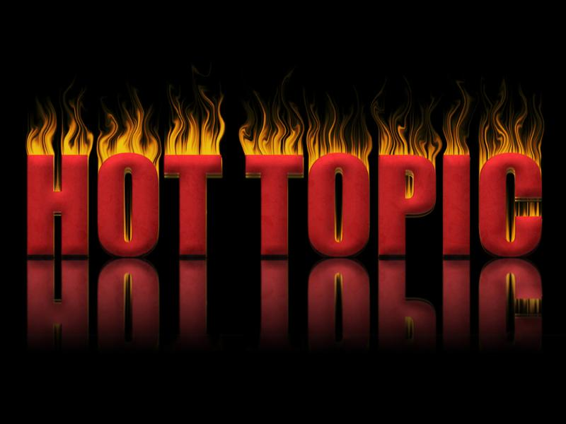 Hot topic block of text in flames