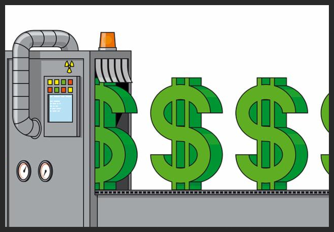 Isolated illustration Businessman driving the money making machine