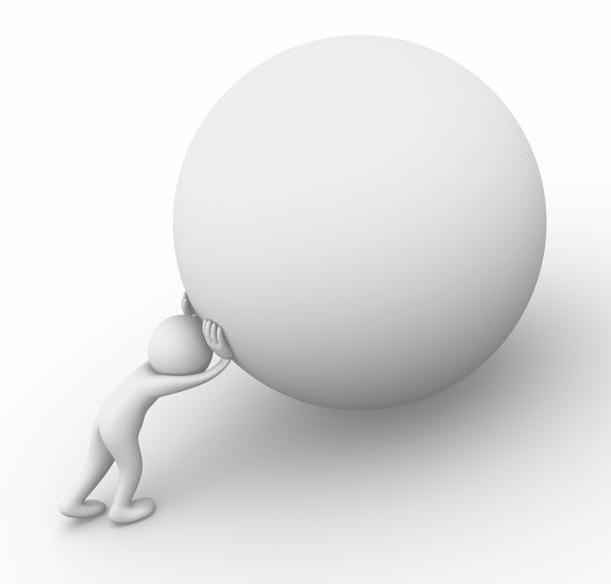 Computer generated image of a man pushing a boulder as Sisyphus
