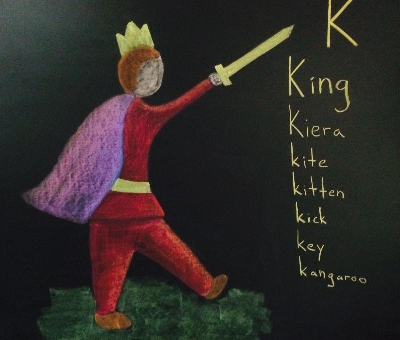 Chalkboard Drawing of King in Grade 1