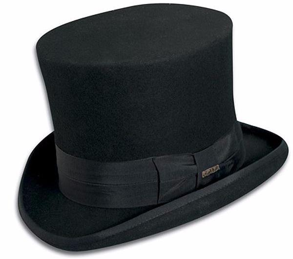Tuxedo Black Satin Top Hat One Size Fits Most Adults