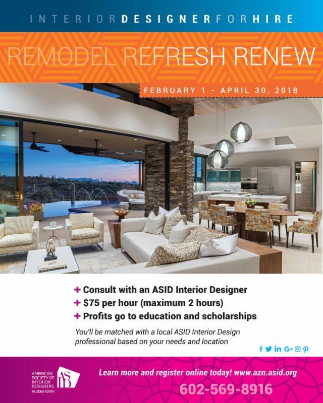 2018 Interior Designer for Hire - Consultations Begin Feb 1st - April 30th