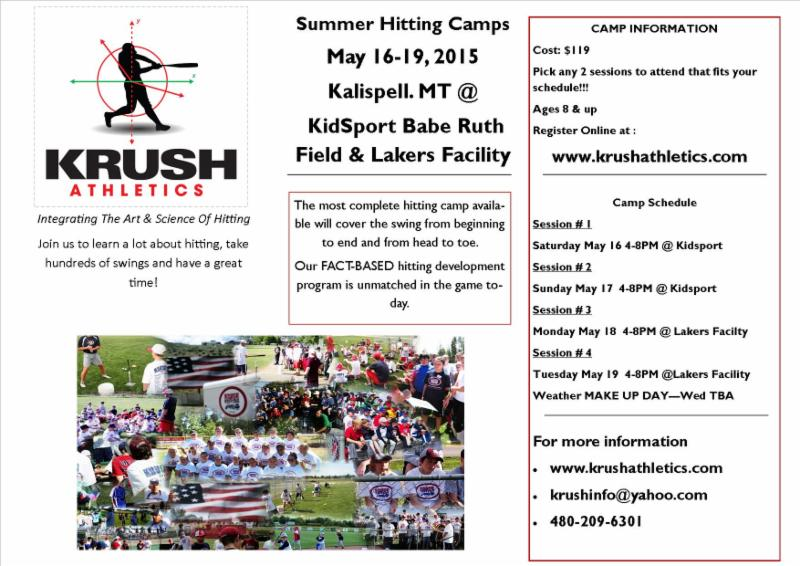 Krush Hitting Camps in Kalispell, Montana May 2015