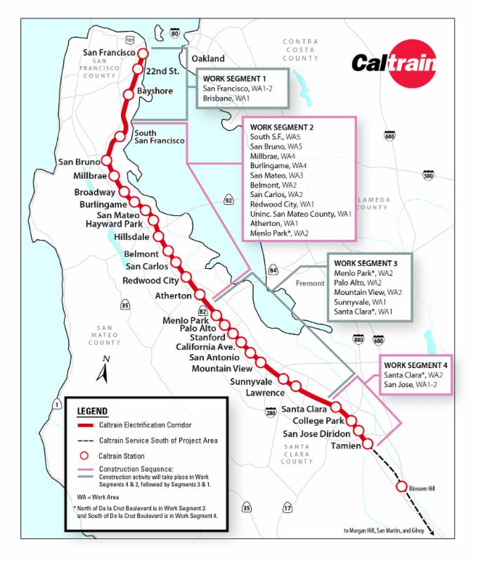 Caltrain Electrification Construction Work Segment Map