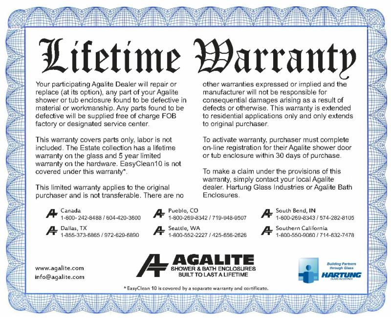 Agalite Lifetime Warranty