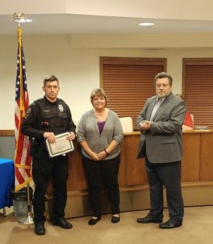 Police Officer David Cheney (left) celebrate his 10-year anniversary with the Police Department with Clerk Patty Blauvelt and Mayor Dan MacGillis.  Congratulations to both for their service and dedication.