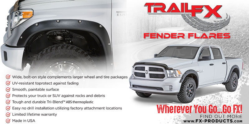 CCI is now a member of the FX Products family. FX Products manufacures parts that are as attractive and affordable as they are strong and dependable. CCI would like to introduce the line of the TrailFX Fender Flares.