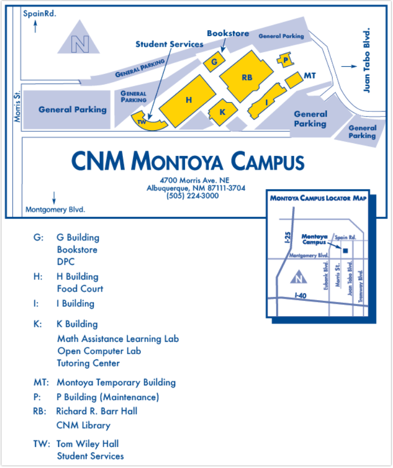 Cnm Montoya Campus Map 1/16/19 SCORE First Session