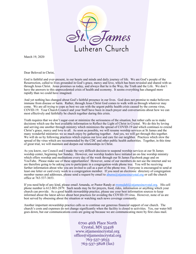 Congregational Letter from Pr. Randy March 19, 2020