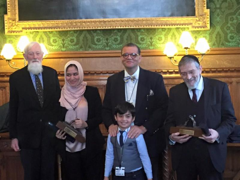 Canon Andrew White with FRRME Peace Prize recipients Dr Sarah Ahmed (left) and Rabbi Michael Melchior (right)