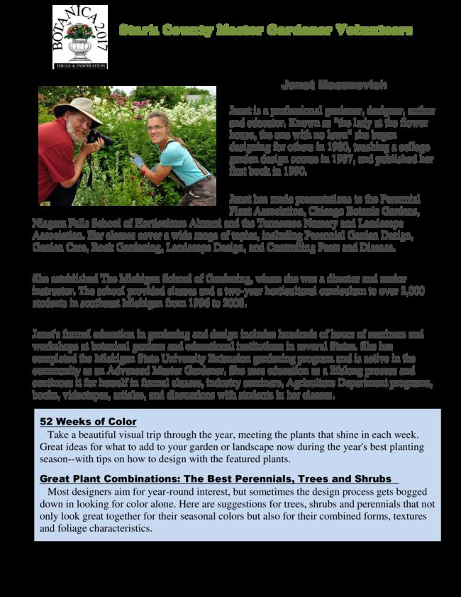 Stark County Master Gardener Volunteers Botanica 2017