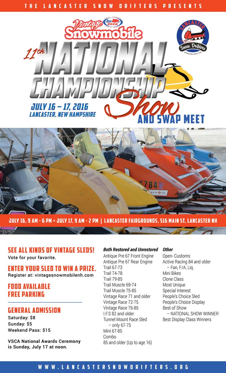 snowmobile swap meet online As well as collecting and restoring, these vintage enthusiasts also put their sleds on display at snowmobile shows, swap meets, races, and vintage ride-ins.