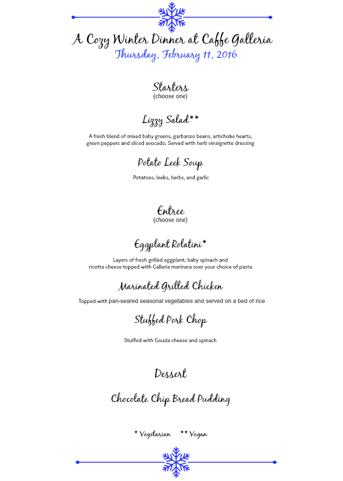 Winter Dinner Menu at Caffe Galleria