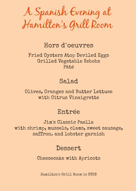 A Spanish Evening at Hamilton_s Grill Room menu