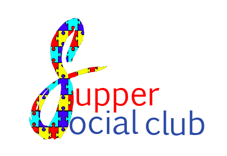 the words supper social club wit the first s made out of puzzle pieces like the autism symbol.