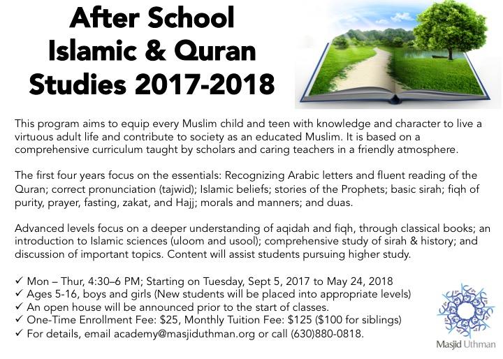 After School Islamic & Quran Studies 2017-2018