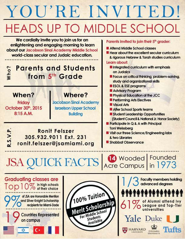 JSA's Middle School Open House