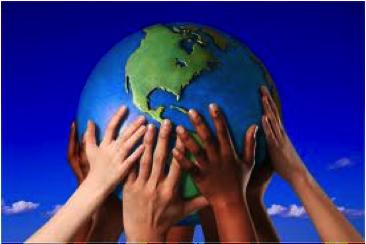 mani che sorreggono il mondo.
