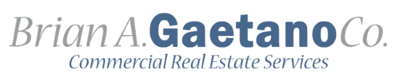 Blue and white text logo reading Brian A Gaetano Co Commercial Real Estate Services