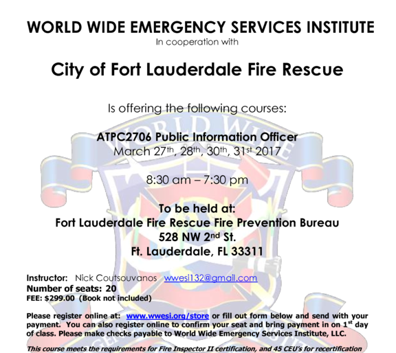Florida Fire Inspector and Investigator courses
