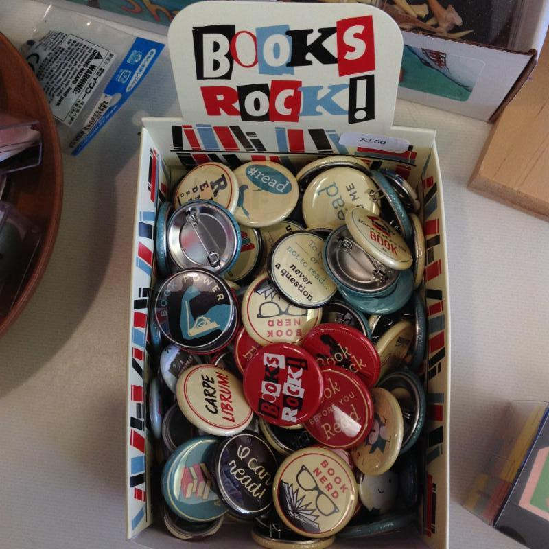 Assorted book related buttons