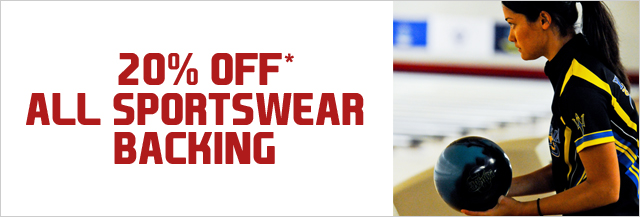 20% off* all sportsware backing