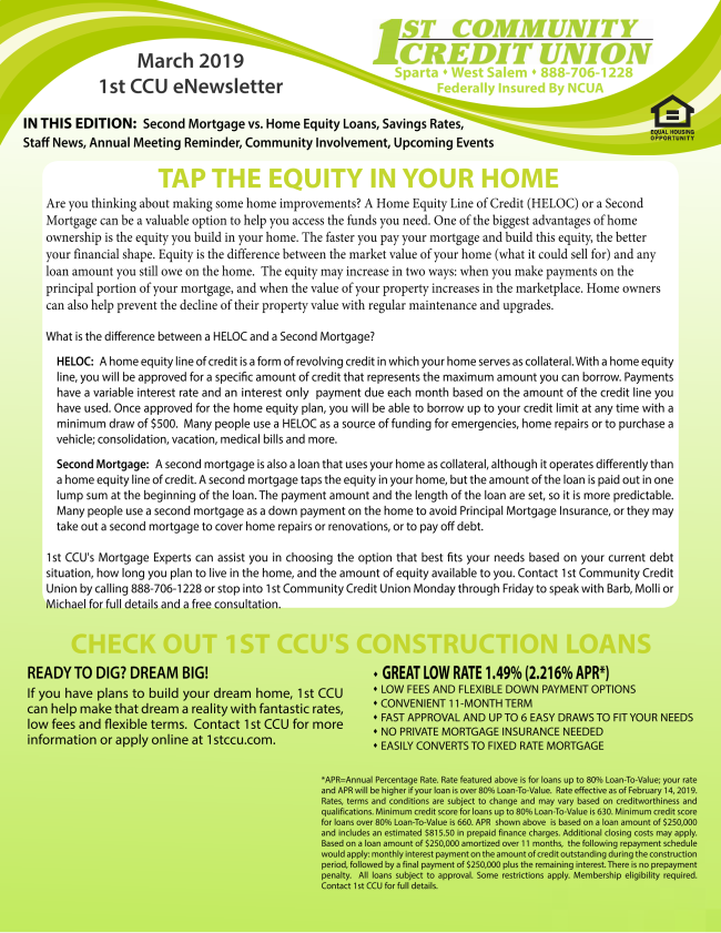 1st Community Credit Union eNewsletter