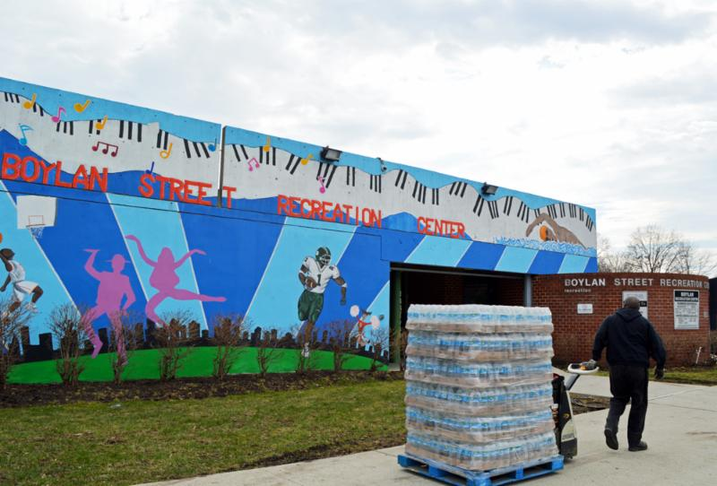 Students in Newark's public schools go on bottled water since news broke earlier this month that students may have been exposed to lead since at least 2012.  Photos courtesy of Community Foodbank of New Jersey.