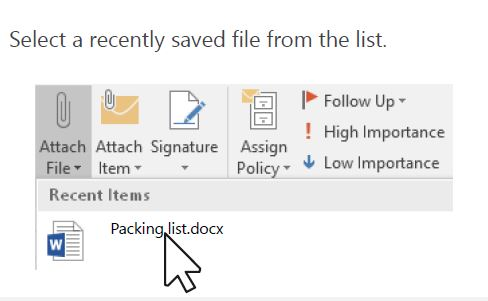 Attach file menu to find attached files quickly.