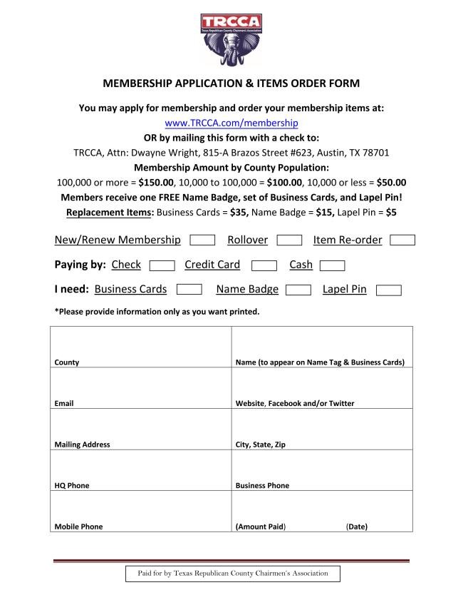 TRCCA membership renewal form