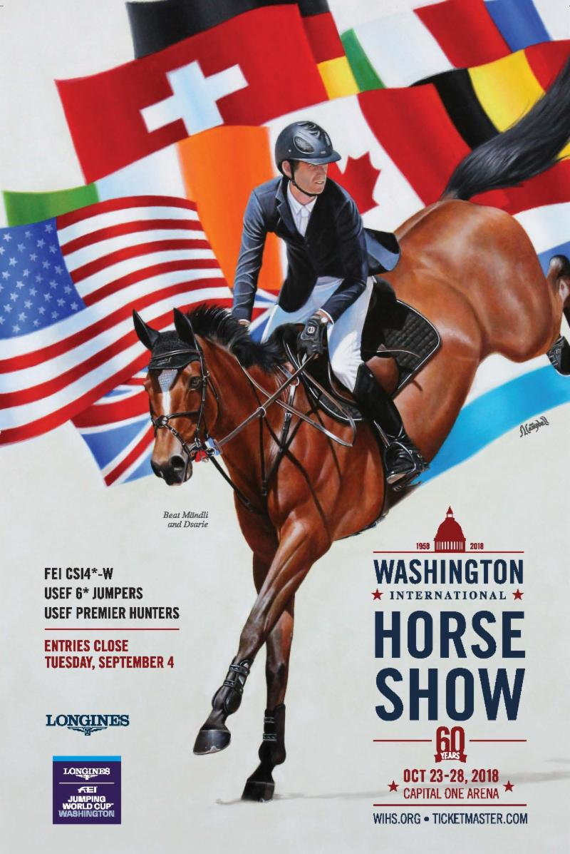 The prize list cover painting features 2017 Longines FEI Jumping World CupTM Washington winner Beat Mandeli (SUI) and Dsarie by WIHS Official Artist Sharon Lynn Campbell.