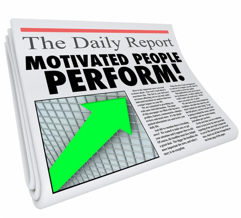 Motivated People Perform words in newspaper headline to illustrate findings of study or survey revealing that recognized or rewarded employees have better efficiency and productivity