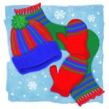 mittens, scarf, hat