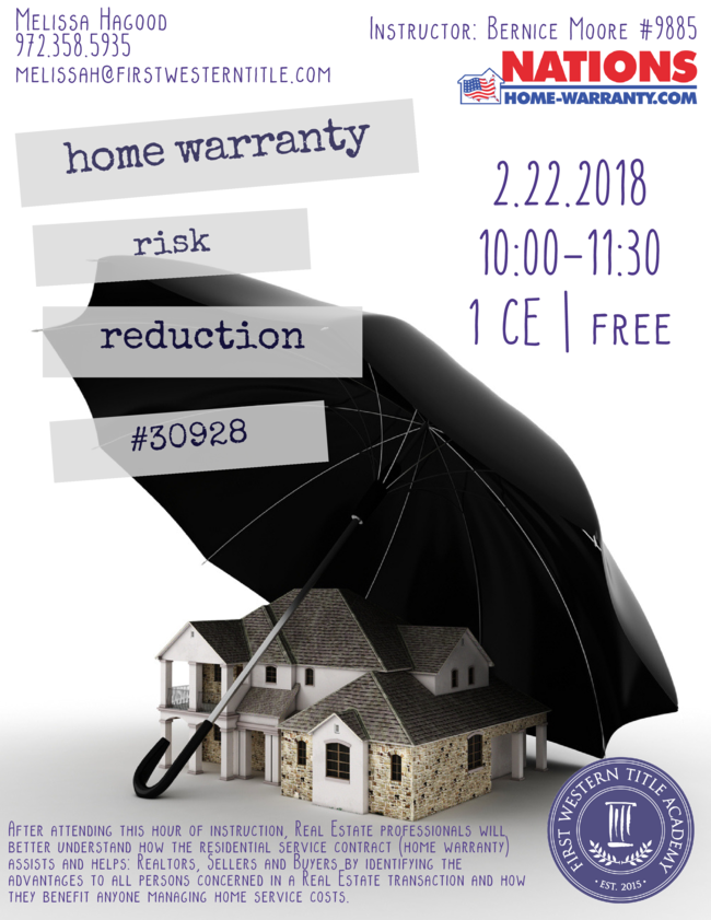 Home Warranty Risk Reduction Grand Prairie