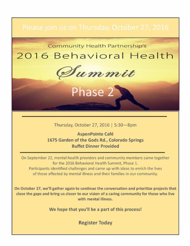 2016 Behavioral Health Summit Phase 2